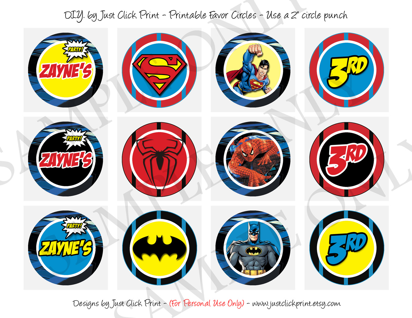 Superheroes Logos Batman Superman Spiderman Birthday Invitation ...