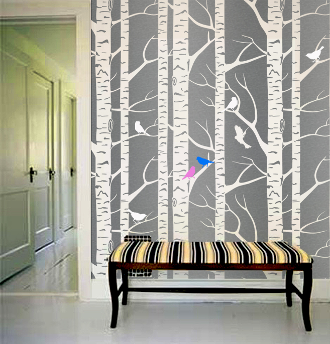 Stencil Tree Forest Branches birds Designer Pattern for Walls Decor ...