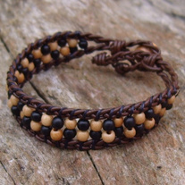 Brown Braided Leather Bracelet with Bone and Wood Beads