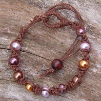 Macrame Brown Hemp with Glass Pearl Beads
