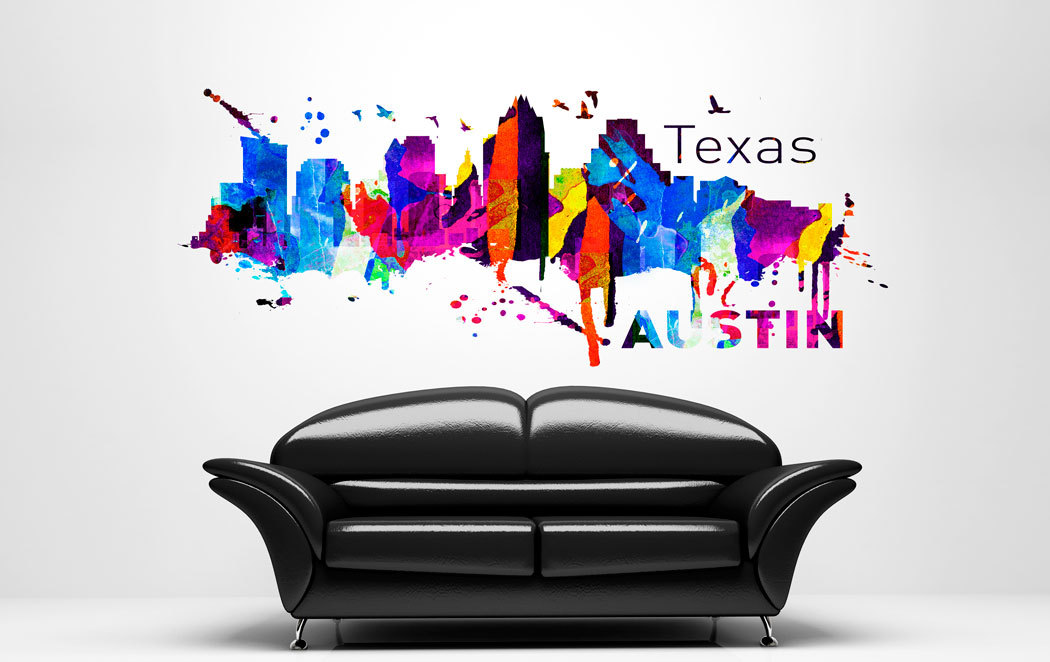 Austin texas skyline art print watercolor sticker