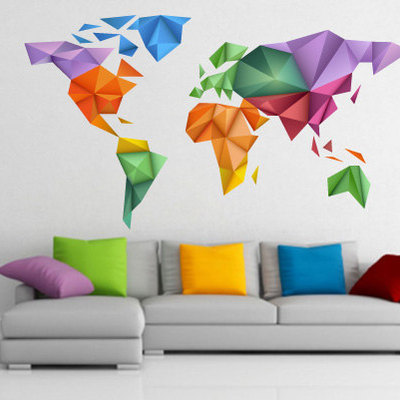 Good World Map Origami Color Sticker Wall Decor · Moonwallstickers.com · Online  Store Powered By Storenvy