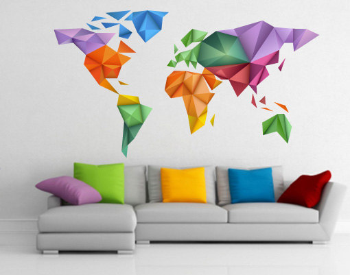 Picturesque world map sticker wall notebuc world map wall stickers vinyl art decals sticker large amazon origami color decor gumiabroncs Gallery