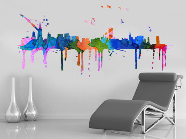 Chicago skyline watercolor city decal art print