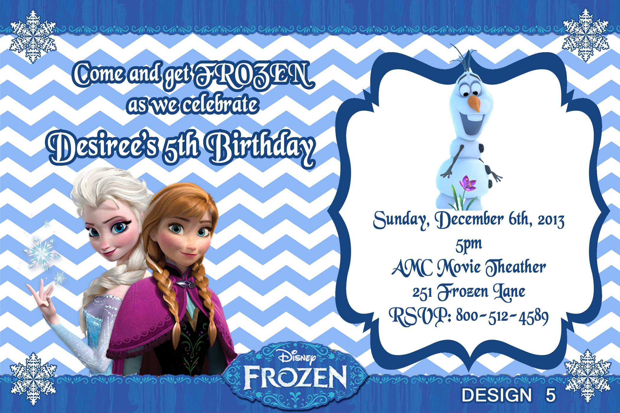 Frozen Movie Birthday Party Invitations