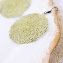 Pale Yellow Doily Brass Cutout Dangle Earrings