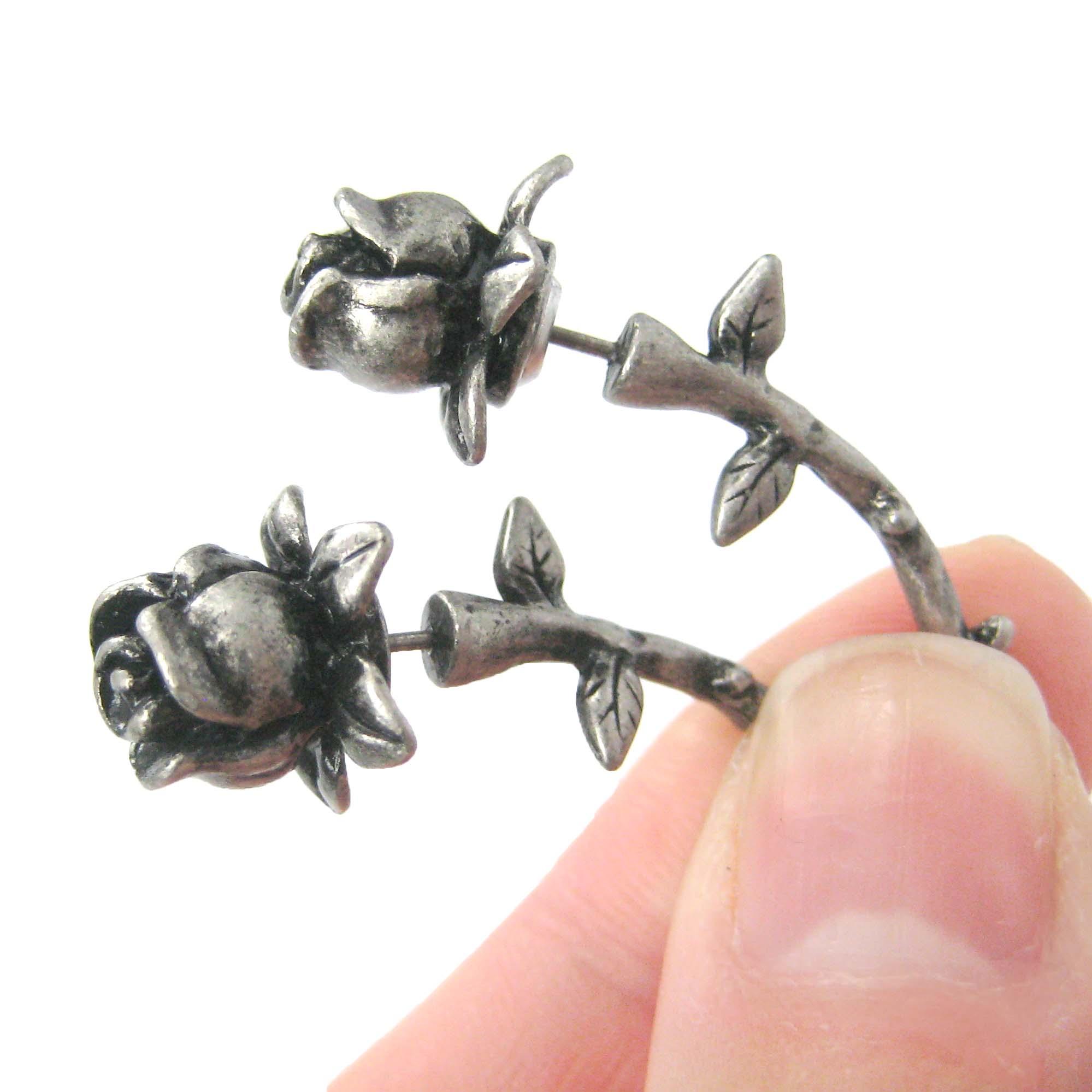 rose flower shaped fake gauge plug stud earrings in silver