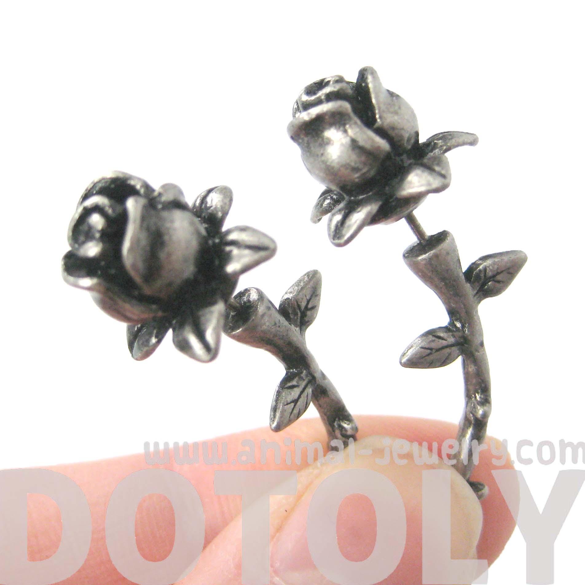 Rose Flower Shaped Fake Gauge Plug Stud Earrings In Silver  Thumbnail 1