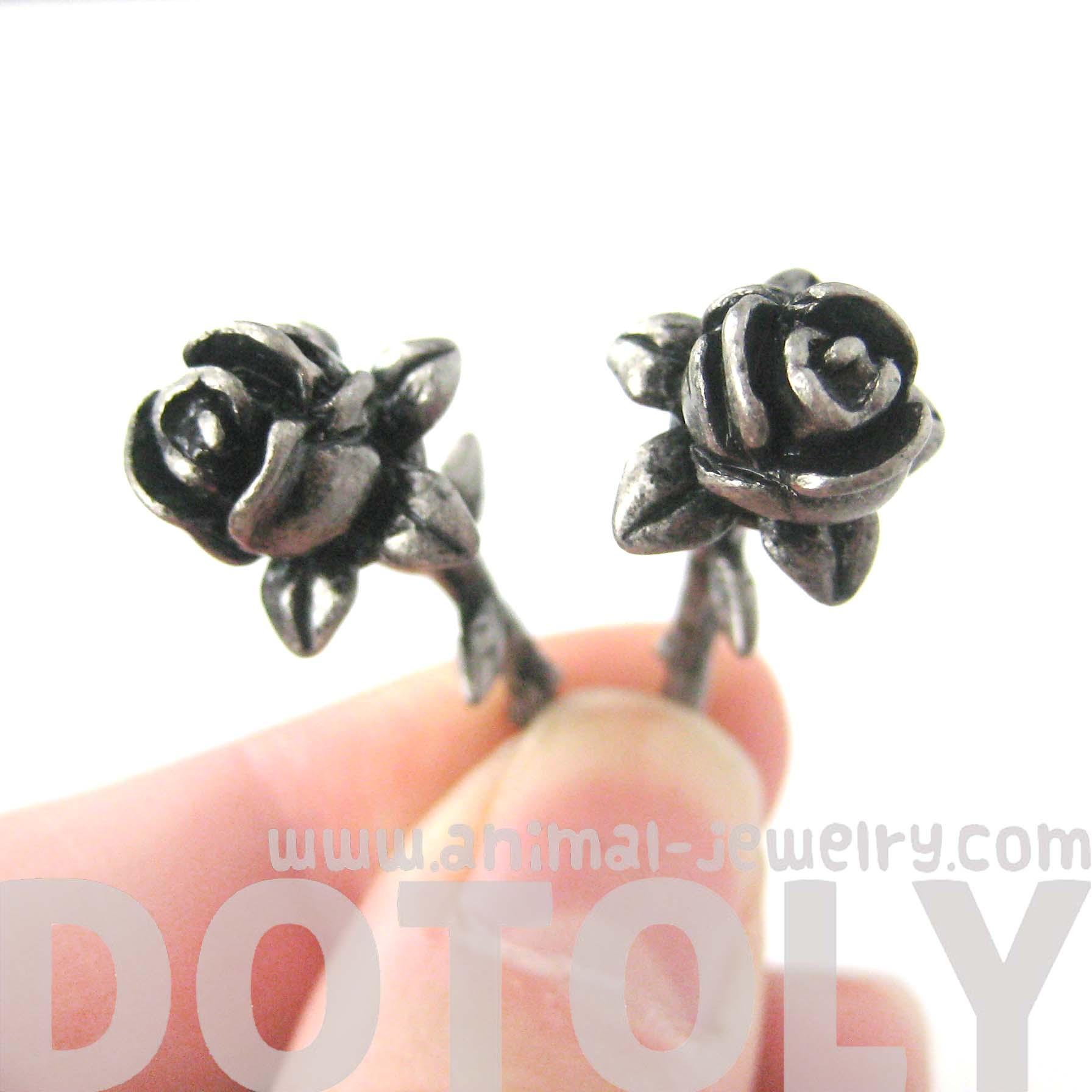 Rose Flower Shaped Fake Gauge Plug Stud Earrings In Silver  Thumbnail  2