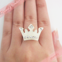 Couture White Crown Rhinestone Ring