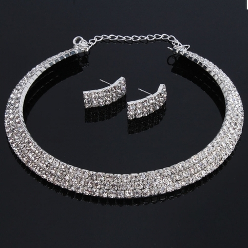 Rhinestone bridal set necklace and earrings jenuine for Bridesmaid jewelry sets under 20