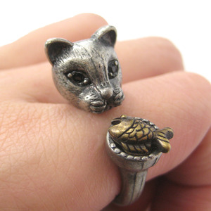 Detailed Kitty Cat and Fish Animal Ring in Silver | US Sizes 7 to 11 Available