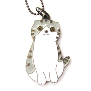 Tabby Kitty Cat Animal Shaped Enamel Pendant Necklace