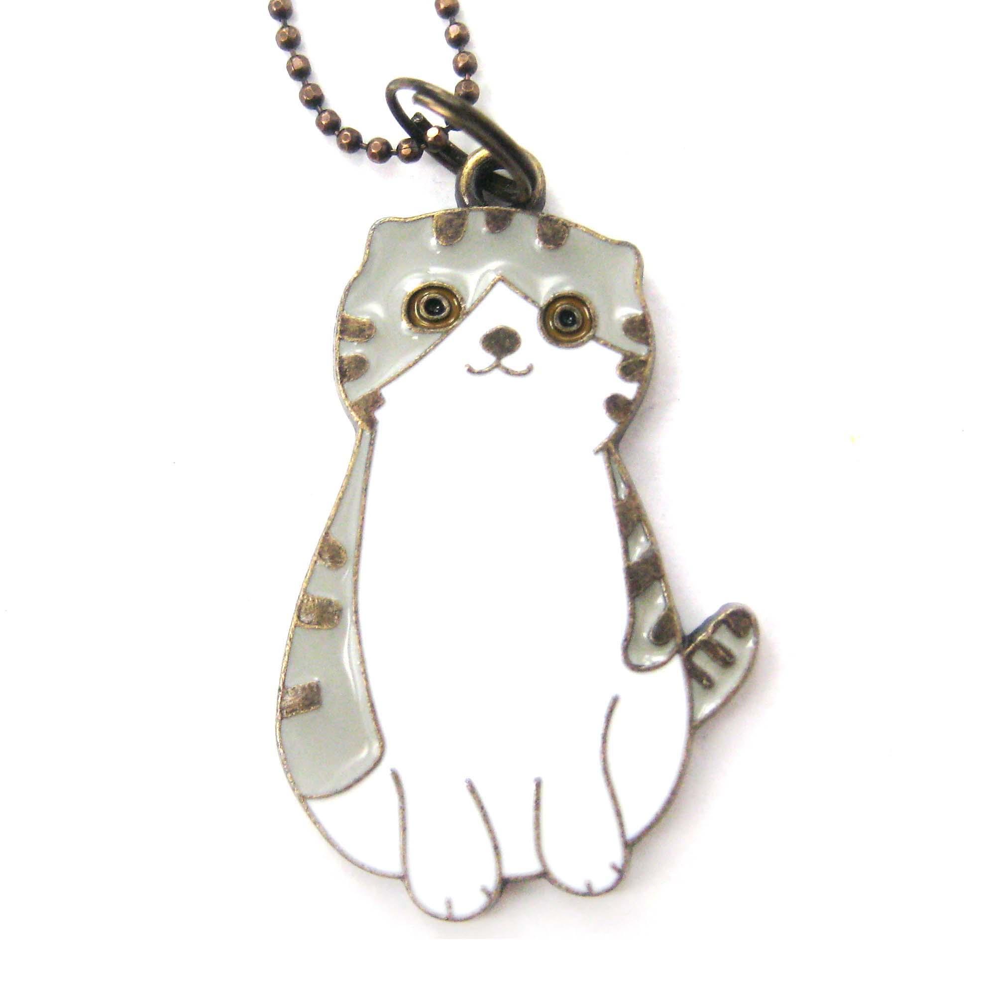 tabby cat animal shaped enamel pendant necklace