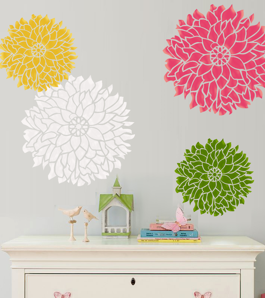 Wall stencil bold statement flower dalia large size - Flower stencils for walls ...