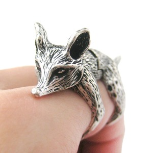 Detailed Fox Shaped Animal Armor Joint Knuckle Ring in Silver | Sizes 5 to 9
