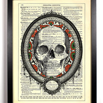 Image of Framed Skull Head, Vintage Dictionary 8 x 10