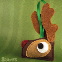 Felt Rudolph Reindeer Ornament, Felt Animal Ornament - Rudolph the Reindeer