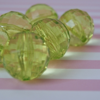22mm faceted clear lime green bubblegum chunky beads