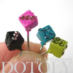 Small Multi Colored Dice Rhinestone Stud Earring Set 4 Pieces