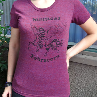 Zebracorn shirt womens burgundy cotton by revival ink