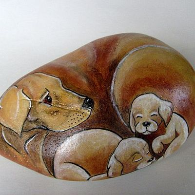 Puppy love hand painted rock - free usa shipping