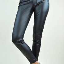 Black Stretch High Quality Imitation Leather Pants w/ Zipper Pockets Leggings