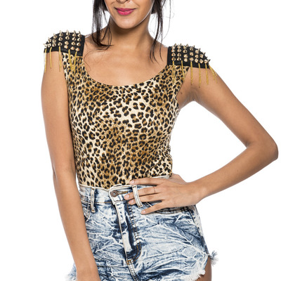 Sexy studded shoulder animal print body suit