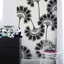 Oriental Asian Large Flowers Pattern Allower Wall Stencil Room Decor