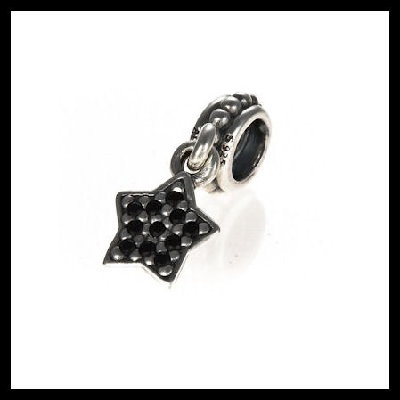 "9538fa011 AUTHENTIC PANDORA ""Pave Star Dangle"" Black CZ .925 Sterling Silver  European Charm"