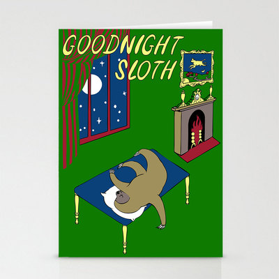 Goodnight sloth 3-pack of greeting cards with matching envelopes