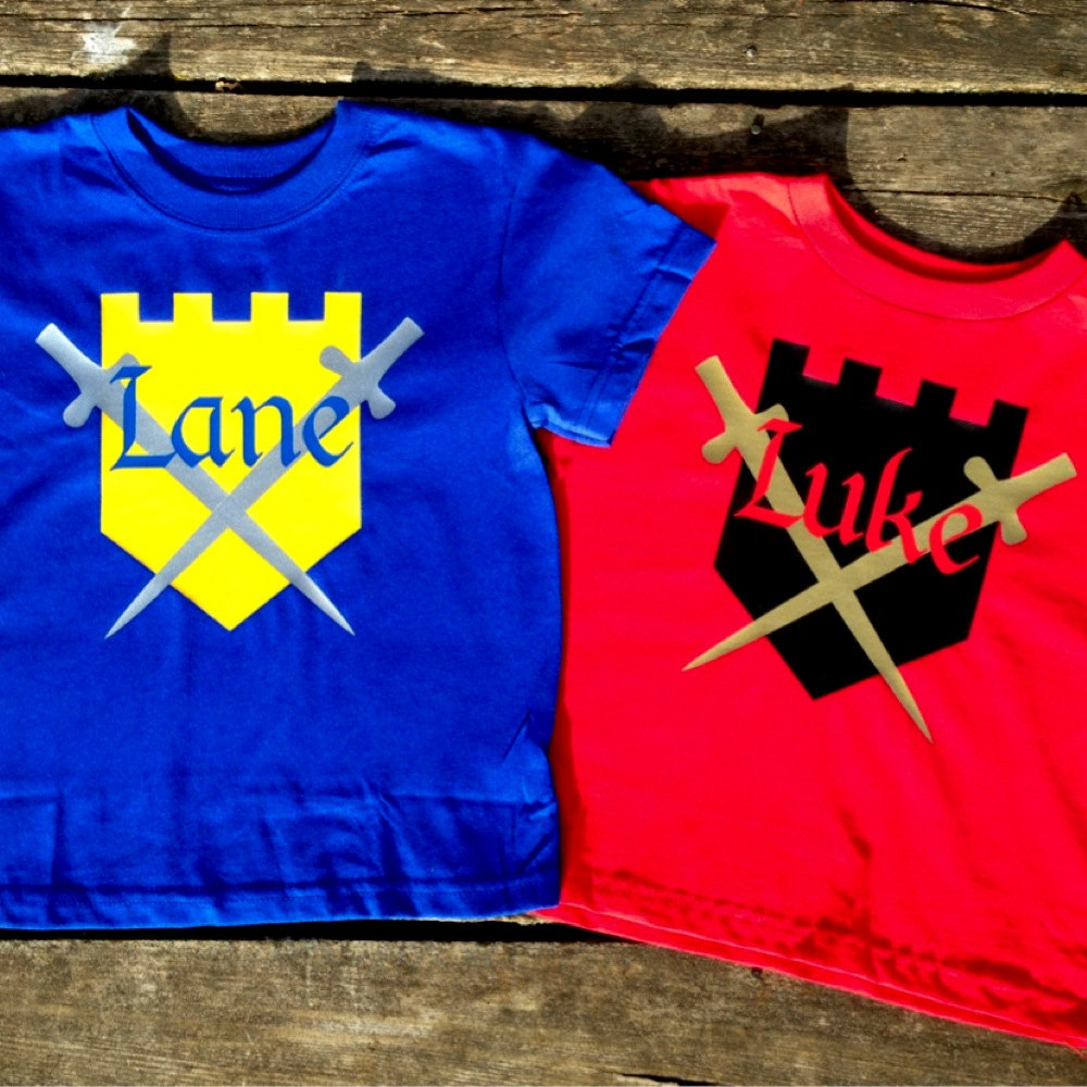Personalized Knight T Shirt For Kids Custom Shield And