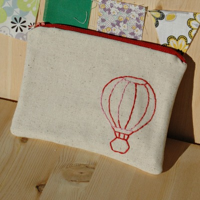 Just stitched hot air balloon zippy