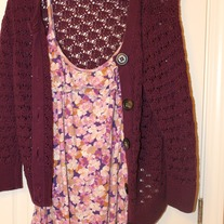 Old Navy Flower Tank and Matching Crochet Cardigan, Purple