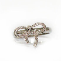 Ribbon Crystal Ring - Silver
