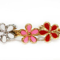Flower Ring (Pink) - Silver - Thumbnail 1