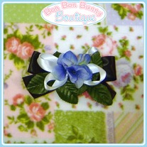 Blue & Black Floral Bow