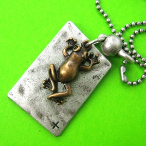 SALE - Frog Toad Animal Charm Necklace in Silver