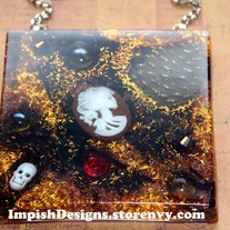 Halloween Skulls and Skeletons Resin Tile Wall Hanging