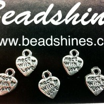 """Made with Love"" heart charms. 12pcs"