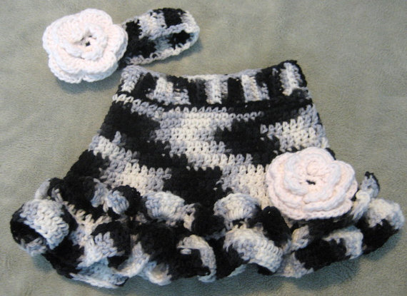Baby Girl Crochet Skirt And Matching Headband Size 3 6 Month