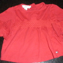 RED TOMMY HILFIGER SHIRT SIZE 3-6 MONTHS