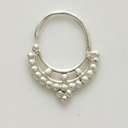 ornamented silver septum for pierced nose nose jewelry