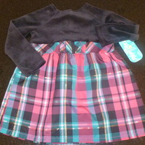 Black Velvet/Pink Plaid Dress-Healthtex-NEW Size 18 Months