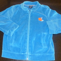 Blue Velour Zip Jacket with Orange Flower-Gap Kids Size 4