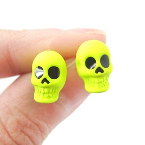 Rocker Chic Emo Skull Shaped Skeleton Themed Stud Earrings in Neon Yellow