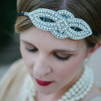 The Myrtle - Art Deco Rhinestone and Beaded 1920s Flapper Style Tie Headband