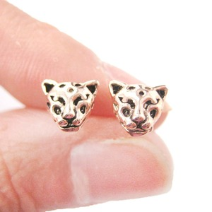 Small Leopard Tiger Cheetah Face Shaped Animal Stud Earrings in Rose Gold