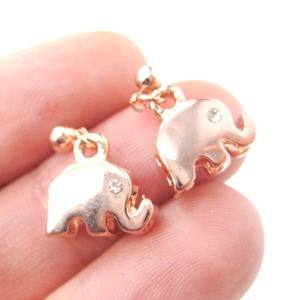 Elephant Silhouette Animal Shaped Dangle Drop Stud Earrings in Rose Gold