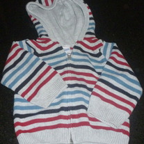 Gray/Red/Blue/Black Strip Sweater with Hood-Gymboree Size 2T